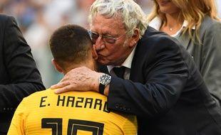 Gérard Linard, le président de la fédération belge de foot, aux côtés d'Eden Hazard au Mondial 2018.
