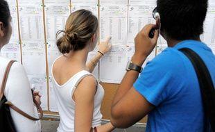 Des lycéens, du lycée Fustel de Coulanges, à Strabourg, découvrent les résulats du bac 2011.