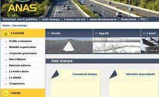 Capture d'écran du site italien de l'Anas.