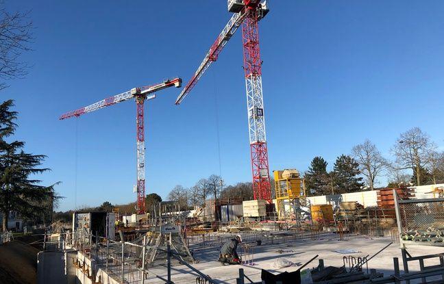 Le chantier de la future préfecture le long du boulevard d'Armorique, à Rennes. Ici le 20 janvier 2020.