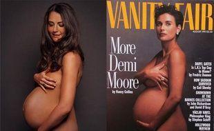 Le faux portrait de grossesse de Kate Middleton par Alison Jackson et celui de Demi Moore en 1988.
