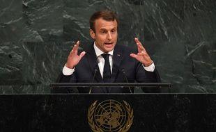 Emmanuel Macron lors de son discours à l'ONU.