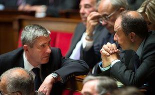 Les députés UMP Philippe Briand (à gauche) et Jean-François Copé, le 10 juin 2014 à l'Assemblée nationale.