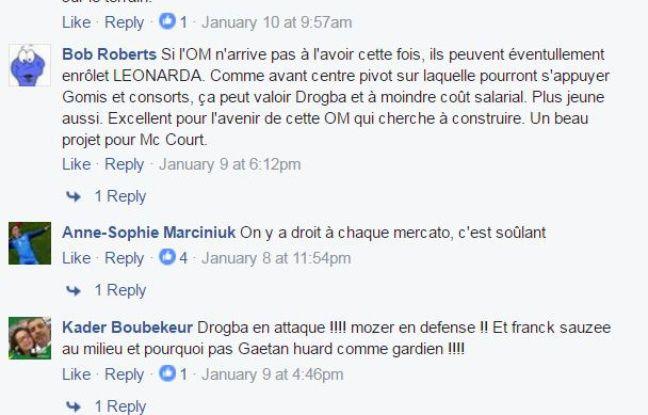 Quelques commentaires sur notre page Facebook «20 Minutes Sport»
