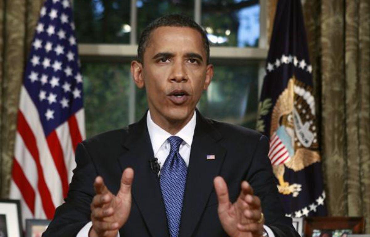 Barack Obama pendant son discours en direct de la Maison Blanche, le 15 juin 2010. – REUTERS/Kevin Lamarque
