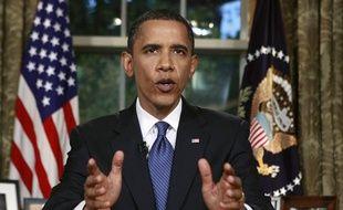 Barack Obama pendant son discours en direct de la Maison Blanche, le 15 juin 2010.