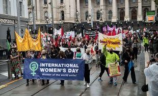 Manifestation à Melbourne pour la journée internationale des droit des femmes, le 8 mars 2021.