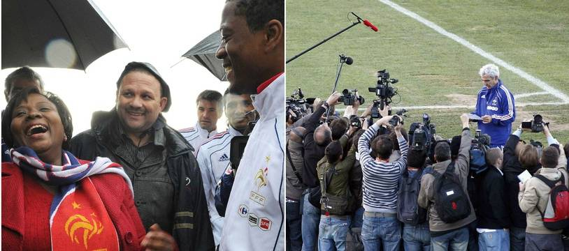 A gauche, la maire de Knysna en 2010 et Patrice Evra. A droite : Raymond Domenech lit la lettre des Bleus expliquant leur grève, lme 20 juin 2010, toujours à Knysna.
