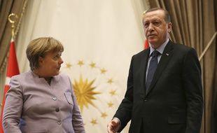 La chancelière allemande Angela Merkel et le président turc Recep Tayyip Erdogan lors d'une rencontre à Ankara, le 2 février 2017.