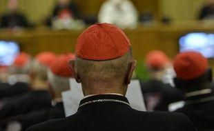 Des cardinaux suivent le discours du pape François lors de l'ouverture du consistoire sur la réforme de la Curie, le 12 février 2015 au Vatican