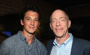 Miles Teller and (R) J.K. Simmons