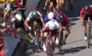 L'arrivée houleuse de la 3e étape du Tour de France, avec la chute de Cavendish poussé par Sagan, le 4 juillet 2017.