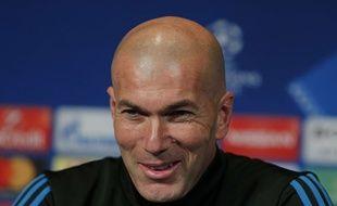 Zinédine Zidane en conférence de presse avant PSG-Real Madrid en Ligue des champions, le 5 mars 2018.