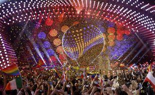 Lors de la finale de l'Eurovision 2015 à Vienne (Autriche).