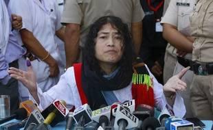 La militante indienne des droits de l'Homme, Irom Sharmila, le 9 août 2016 à Imphal, dans l'Etat de Manipur (Inde).