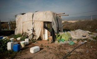 La cabane d'un travailleur agricole dans le bidonville de Nijar, dans la province d'Almeria, le 3 février 2016