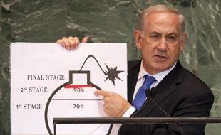 Benjamin Netanyahu dénonce le programme nucléaire iranien, lors de son intervention à l'Assemblée général de l'ONU, le 27 septembre 2012