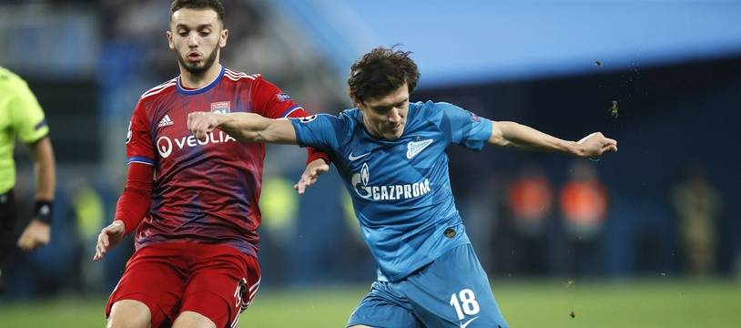Ici à la lutte avec Yuri Zhirkov, Amine Gouiri a eu droit aux premières minutes de sa jeune carrière en Ligue des champions, mercredi à Saint-Pétersbourg.