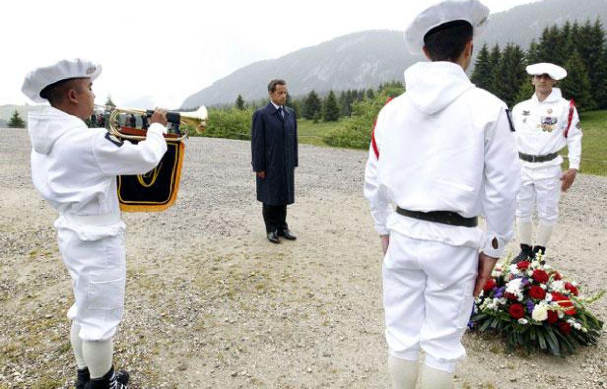 Nicolas Sarkozy, sur le plateau des Glières le 31 mai 2011, haut lieu de la Résistance en Haute-Savoie. – P. FAYOLLE / SIPA