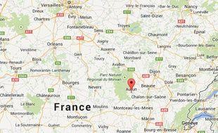 google maps d'Autun en Saône-et-Loire.