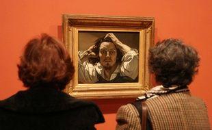 """L'auto-portrait de Gustave Courbet intitulé """"Le désespéré"""" (peint vers 1843-45) présenté au public dans le cadre d'une exposition au Grand Palais (Paris) le 12 octobre 2007."""