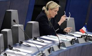 French Front National (National Front - FN) far-right party's President, European MP and candidate for the 2017 French Presidential elections Marine Le Pen attends a debate on the conclusions of the European Council meeting on October 20-21 at the European Parliament in Strasbourg, eastern France, on October 26, 2016.  / AFP PHOTO / FREDERICK FLORIN