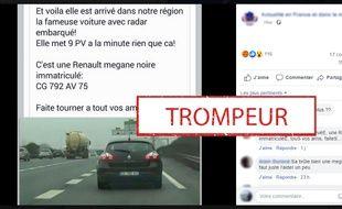 La fameuse Mégane noire accusée d'être une voiture-radar.