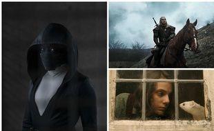A gauche, Regina King dans «The Watchmen», à droite, Henry Cavill dans «The Witcher» et  Dafne Keen dans «His Dark Materials».