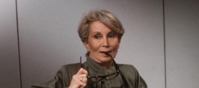 Fernande Grudet alias Madame Claude, le 5 mai 1986 à Paris, avant un talk-show télévisé.