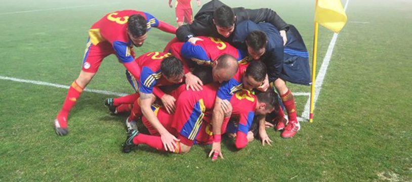 La joie des Andorrans, vainqueurs à Saint-Marin en amical le 22 février 2017.