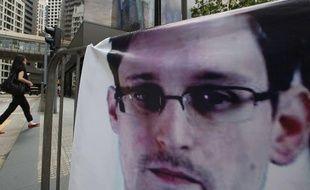 Banderole de soutien à l'ancien employé de la CIA Edward Snowden, à Hong Kong, le 20 juin 2013.
