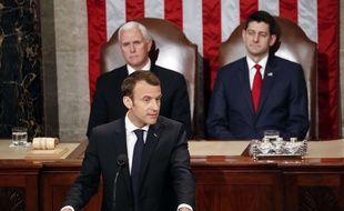 Emmanuel Macron lors de son discours devant le Congrès américain, mercredi 25 avril.