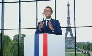 Emmanuel Macron lors de son allocution du 12 juillet 2021