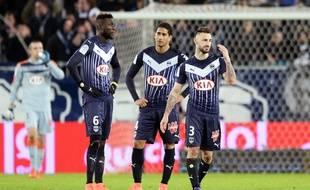 Lamine Sané, Pablo et Diego Contento (de g. à d.), trois défenseurs des Girondins lors de leur match nul face au Gazelec Ajaccio, le 5 mars 2016 à Bordeaux.