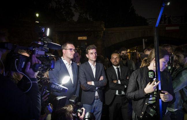 Erik Tegner (au centre) avec le député Rassemblement national Sébastien Chenu (à droite)