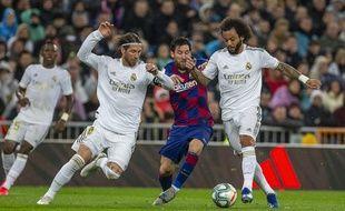 Sergio Ramos, Messi et Marcelo lors de Real Madrid-Barça, le 1er mars 2020 à Bernabeu.