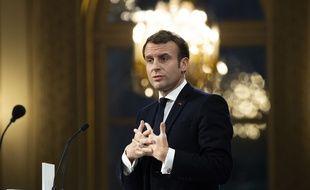 Emmanuel Macron lors d'une réception à l'Elysée en janvier 2020