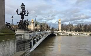 Paris, le 24 janvier 2018 - Crue de la Seine au Pont Alexandre III