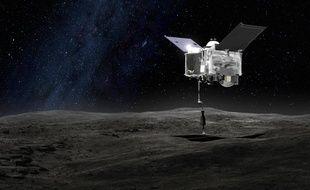 Vue d'artiste de la sonde Osiris-REx, qui doit prélever un échantillon de l'astéroïde Bannu en 2020.