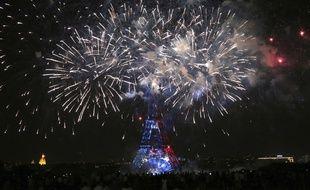 Image du feu d'artifice à Paris, le 14 juillet 2018