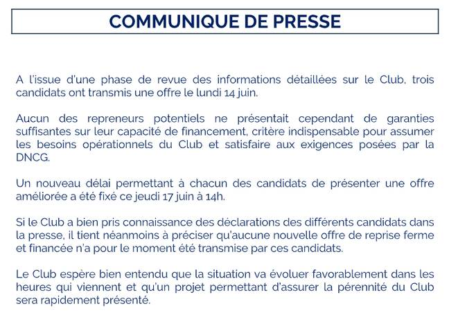 Communiqué des Girondins de Bordeaux ce jeudi sur le rachat du club.