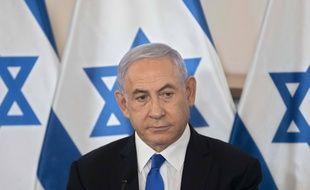 Le premier ministre israélien Benjamin Netanyahu lors d'une conférence de presse à Tel Aviv le 19 mai 2021.
