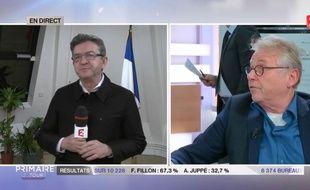 Jean-Luc Mélenchon et Daniel Cohn-Bendit sur France 2 le 27 novembre 2016.