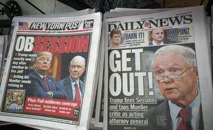 """Les Unes du """"New York Pots"""" et du """"Daily News"""" consacrées au limogeage du ministre de la Justice américain par Donald Trump, le 8 novembre 2018."""