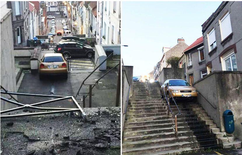 Pas-de-Calais : Dépannage insolite dans un escalier d'une voiture accidentée