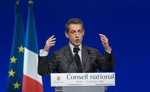 Nicolas Sarkozy, lors du Conseil national Les Républicains, le 13/02/2016 Credit:WITT/SIPA/1602131844