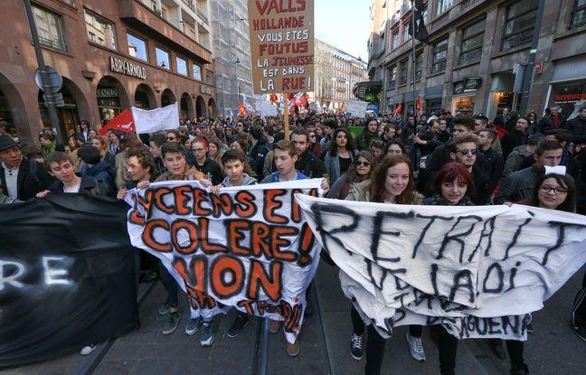 Strasbourg le 17 mars 2016. manifestation contre le projet de loi du travail.