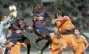 Lamine Sané qui ouvre le score pour Bordeaux face à l'Apoel Nicosie, le 24 octobre 2013.