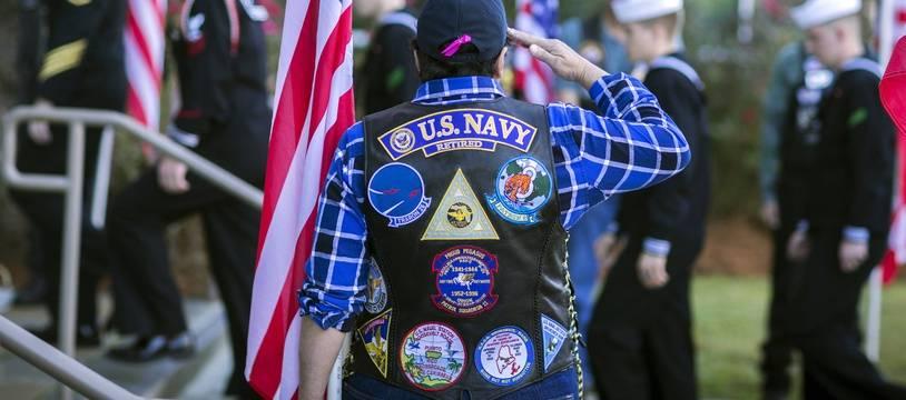 Lors des funérailles de l'un des marins attaqué, à Savannah (Géorgie), le 16 décembre 2019.