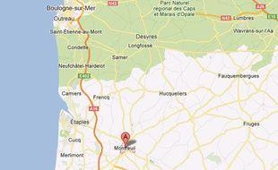 Google map de Montreuil-sur-mer, dans le Pas-de-Calais.